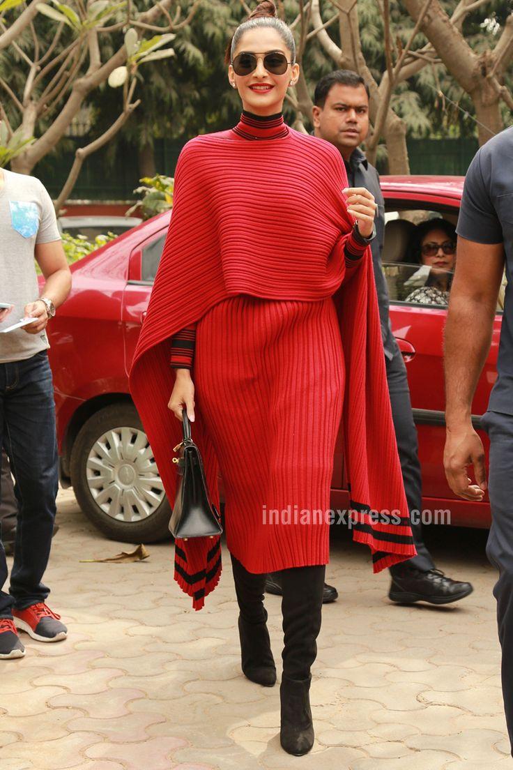Sonam Kapoor looking smart in a red Ferragamo dress in Delhi, while launching #Neerja's biography.