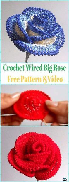 Crochet 3D Wired Big Rose Flower Free Pattern &Video