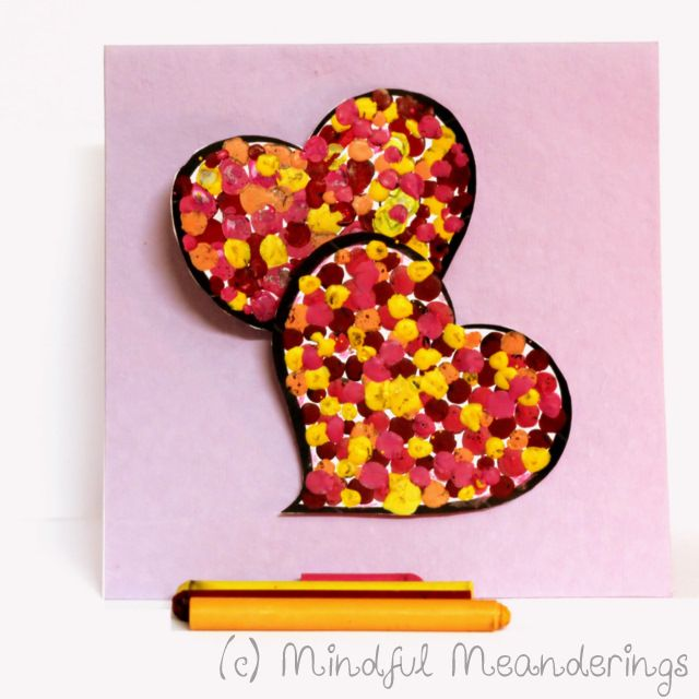 3D Melted Crayon Heart Card - Collaborative HeArt Project - Artsy Craftsy Mom