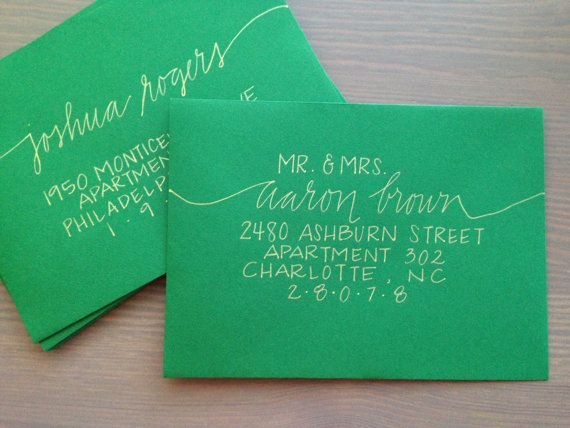 Wedding Invitation Calligraphy  Handmade by ThePrettyPaperieShop