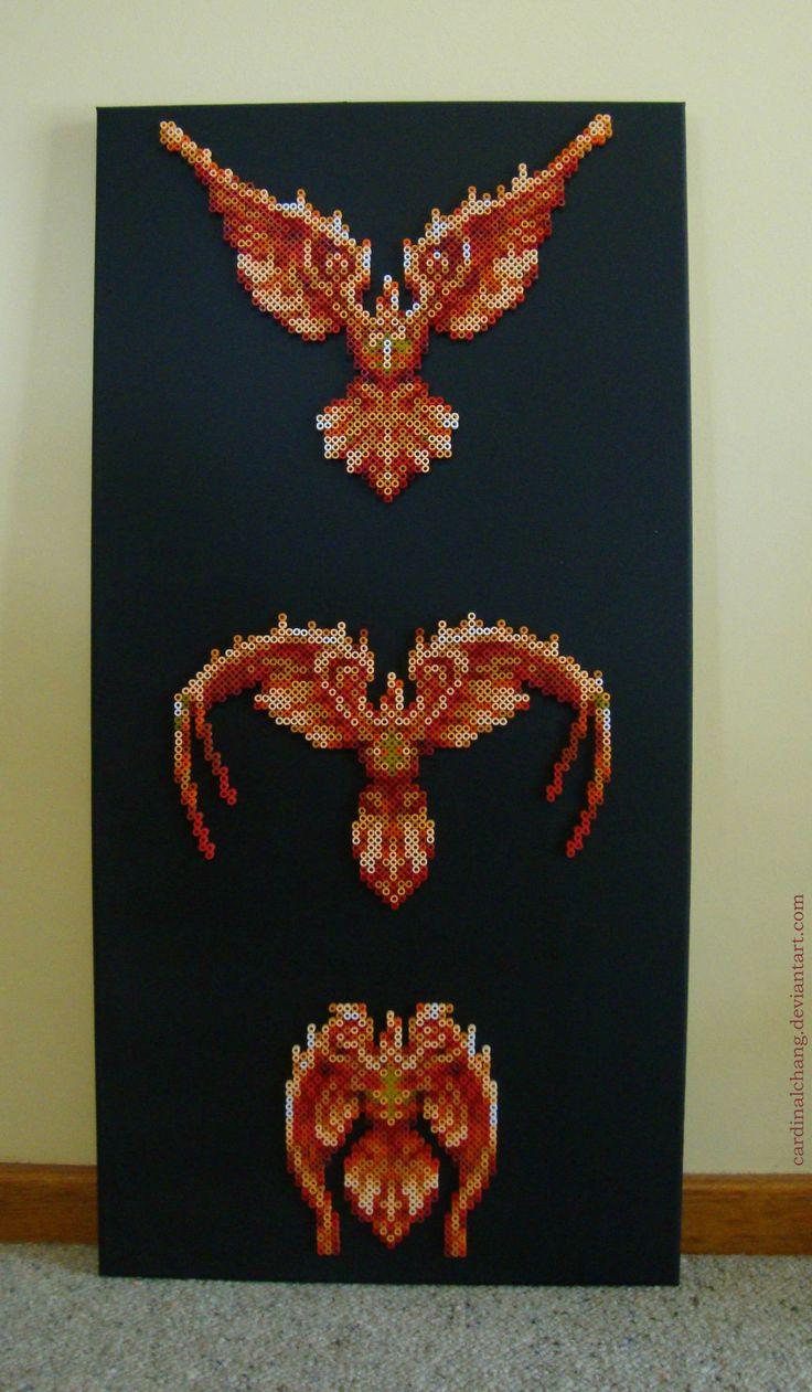 Ff phoenix summon bead art perler patterns cross
