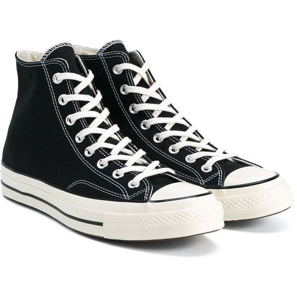 Converse Black All Star Hi 70's Trainers ($79) ❤ liked on Polyvore featuring shoes, sneakers, star sneakers, lace up sneakers, kohl shoes, black shoes and laced up shoes