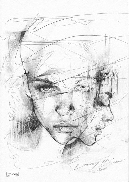 Layered portrait sketch by Danny O'Connor