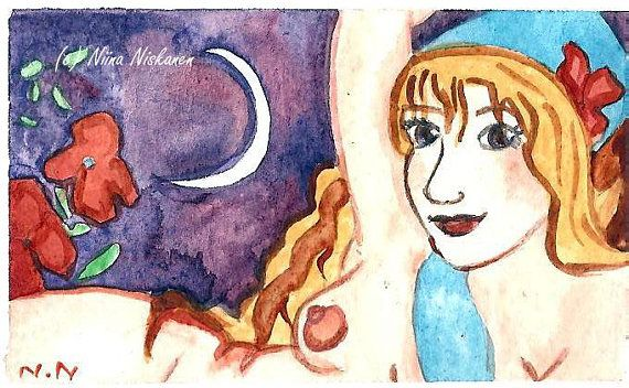 Aprhrodite Goddess ACEO Watercolor Painting Greek myths Greek