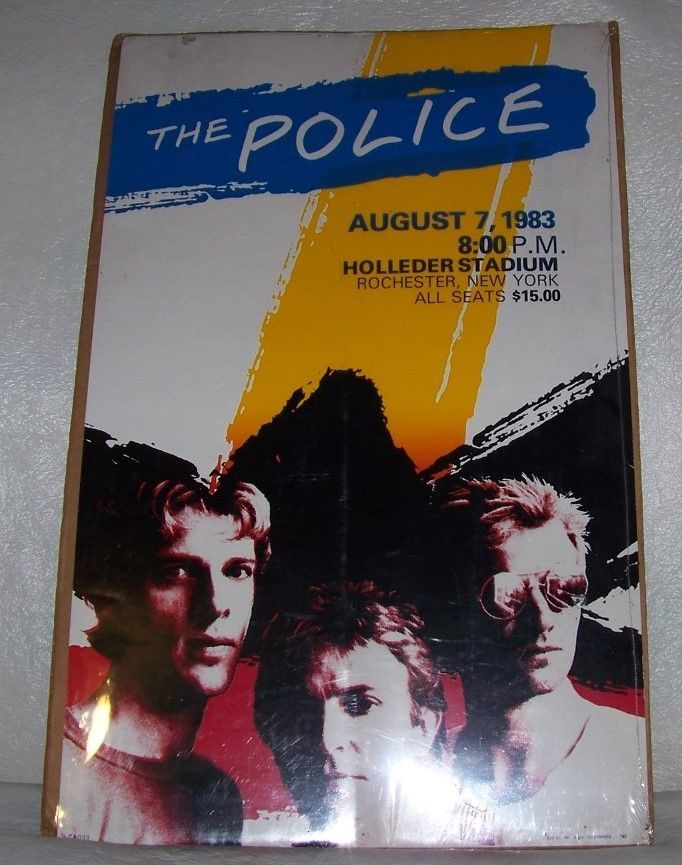 THE POLICE STING TOUR POSTER AUGUST 8 1983 ROCHESTER NEW YORK HOLLEDER STADIUM