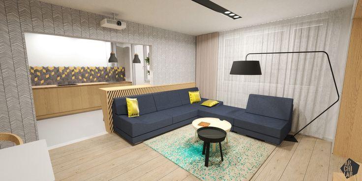 Návrh interiéru bytu Ambroseho ul., Bratislava - Interiérový dizajn / Living room interior by Archilab