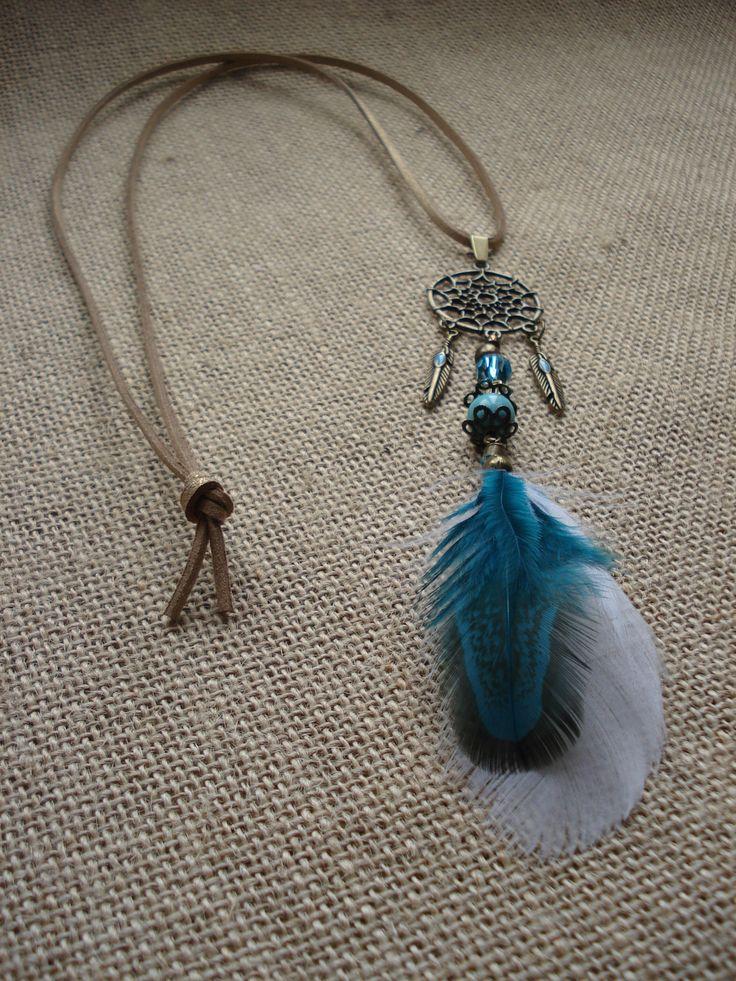 collier plume bleu roi bijoux la mode. Black Bedroom Furniture Sets. Home Design Ideas