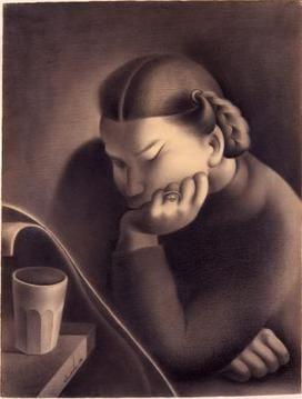 José de Almada Negreiros - Retrato de Sarah Affonso, 1938, Desenho, Grafite sobre Papel
