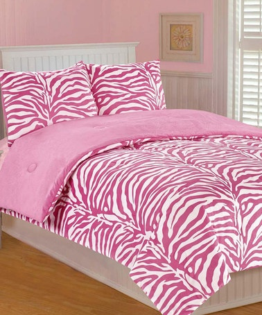 Take A Look At This Pink Zebra Microplush Bedding Set By