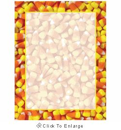 This Halloween printer paper features a yummy candy corner border with candy corns screen into the background of the sheet, and offers plenty of room in the middle of the sheet for customizing with your own message. The 8 1/2″ x 11″ stationary paper runs smoothly through inkjet printers, laser printers and copiers.