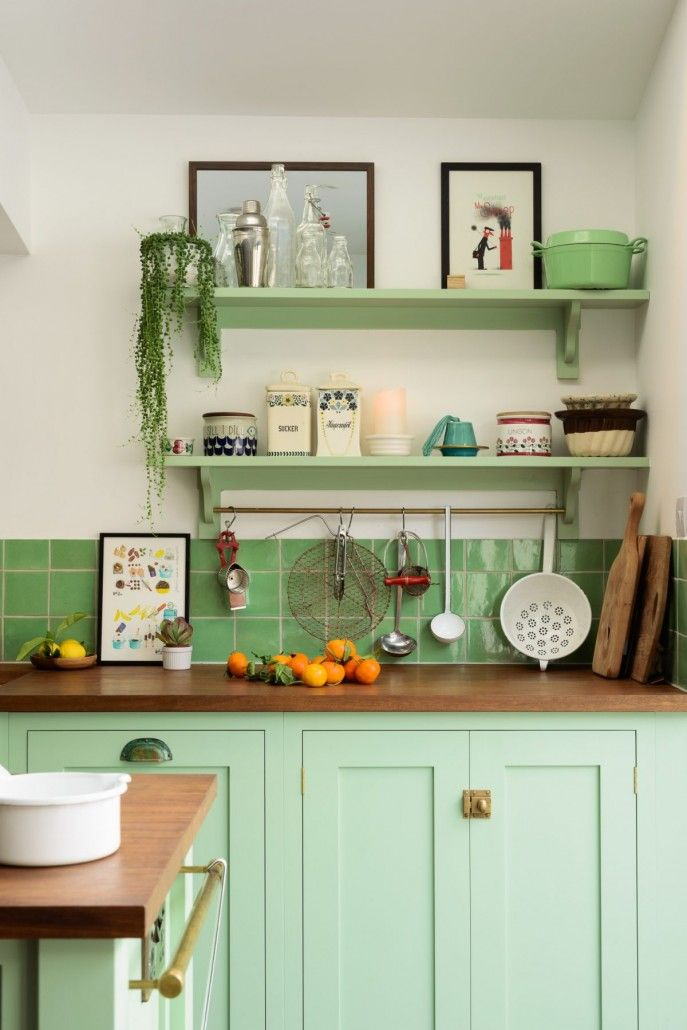 Vintage Kitchen in the kitchen with rachel khoo. - this is such a cheerful, almost kitschy kitchen, isn't it? it definitely has those retro vibes with the pea-green backsplash tile and cabinets. Shaker Kitchen, New Kitchen, Vintage Kitchen, Kitchen Decor, Mint Kitchen, Kitchen Ideas, Kitchen Paint, Kitchen Lamps, Happy Kitchen