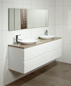 Riviera 13 - 1500 DB Caesarstone top - vaso basins - white gloss - 4drawers - fingerpulls - wallmount www.marquis.com.au