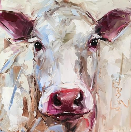 """Daily Paintworks - """"ORIGINAL CONTEMPORARY WHITE COW PAINTING in OILS by OLGA WAGNER - 12 DAYS OF GREY"""" - Original Fine Art for Sale - © Olga Wagner"""