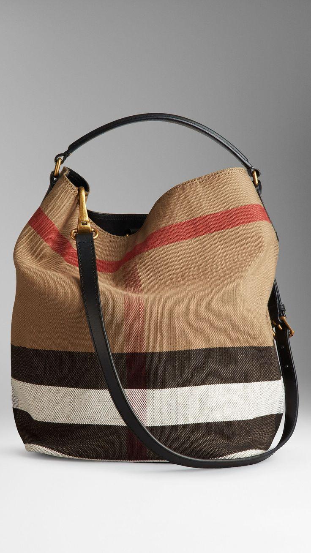 Medium Canvas Check Hobo Bag | Burberry