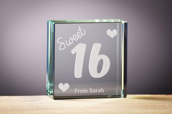 Sweet 16th Birthday Gift Personalised Glass by OriginalMonkey