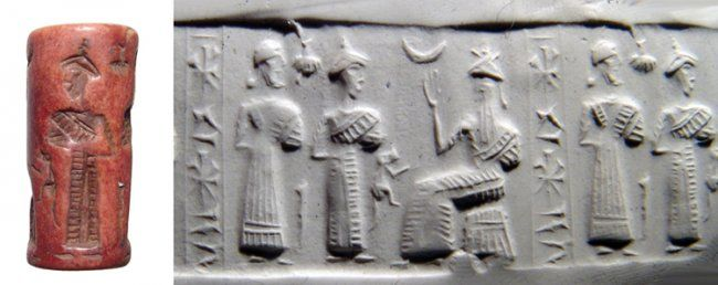 Red stone Old Babylonian period cylinder seal, early 2nd millennium B.C. Of provincial style, depicting a seated deity with a pair of worshippers before, a crescent above his outstretched hand, 2.9 cm high. Private collection