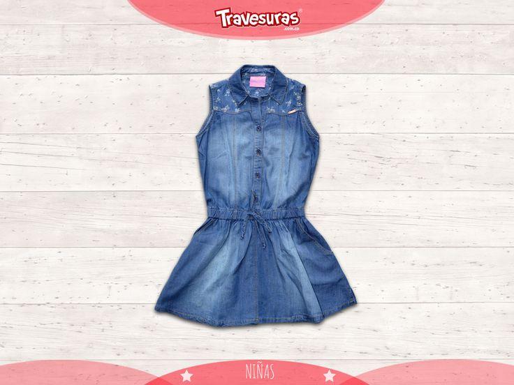 Para las pequeñas un estilo fresco y cómodo con este modelo de vestido tipo denim de nuestra última colección. http://travesuras.com.co/producto/vestido-indigo-nina/