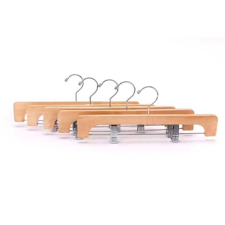 J.S. Hanger Deluxe Wooden Pants Hangers with 2 Adjustable Chrome Clips (Pack of 10) (Natural Polished, 10-Pack), Brown