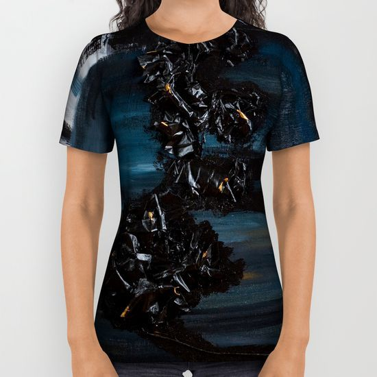 These premium quality all over print shirts feature original art from seam to seam. The cotton-soft 100% polyester wicks moisture and maintains a rich color throughout.  All over print tees are unisex fit, so women should make size selections accordingly and order a minimum of one size smaller. Please Note: Every shirt is uniquely produced using a sublimation process that can create anomalies in some areas, typically under the arm, that leaves small portions of fabric white.