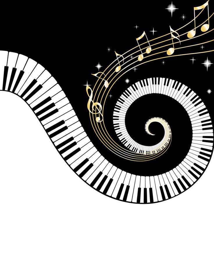 [フリーイラスト素材] イラスト, 背景, 音楽, ピアノ, 鍵盤, 楽譜, 音符, 渦 / スパイラル, EPS ID:201502231500