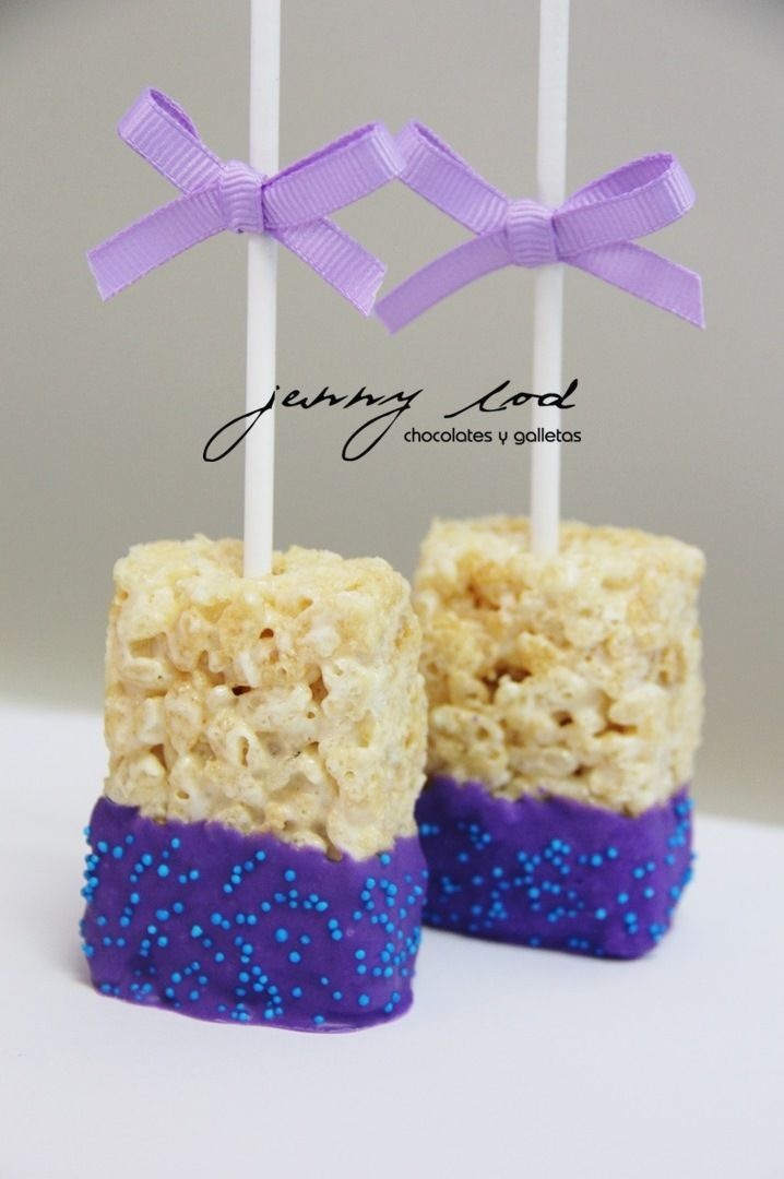 Purple Rice Krispies for Little Mermaid Candy Bar Birthday Party