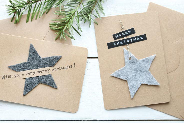 Weihnachten - Stjerne Weihnachtskarten Set No.4 mit Filz Sternen - ein Designerstück von snuggles-cottage bei DaWanda