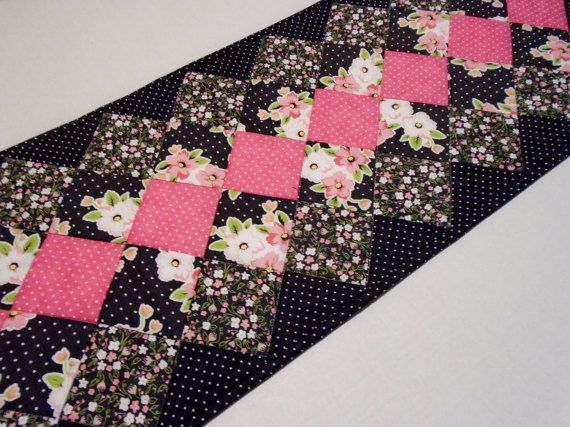 Quilted Table Runner in Black White Pink by ForgetMeNotQuilteds