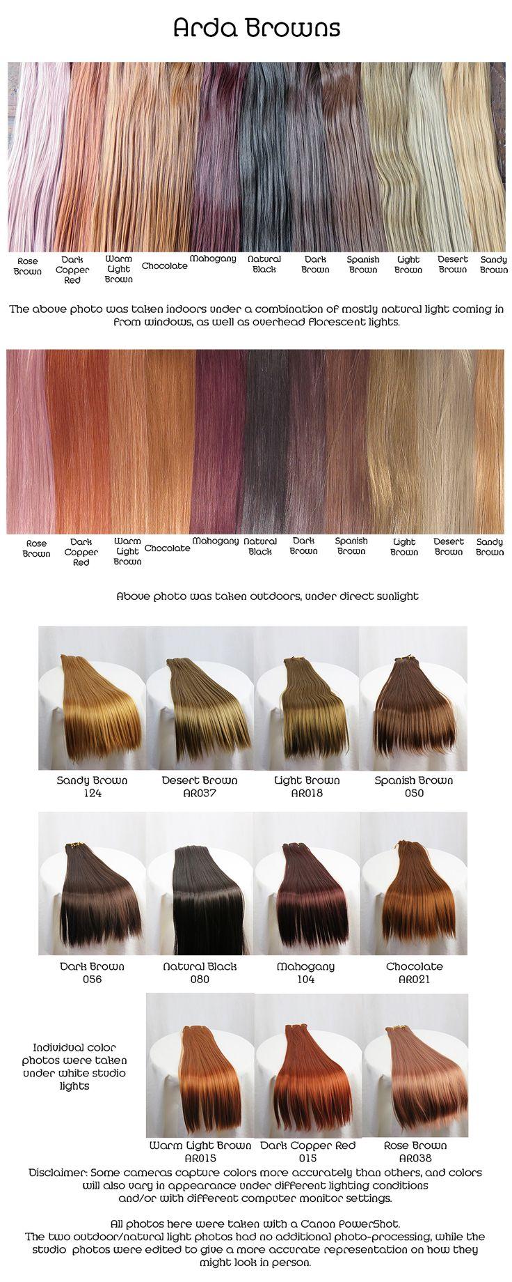 Arda browns, wig fiber color pallette.