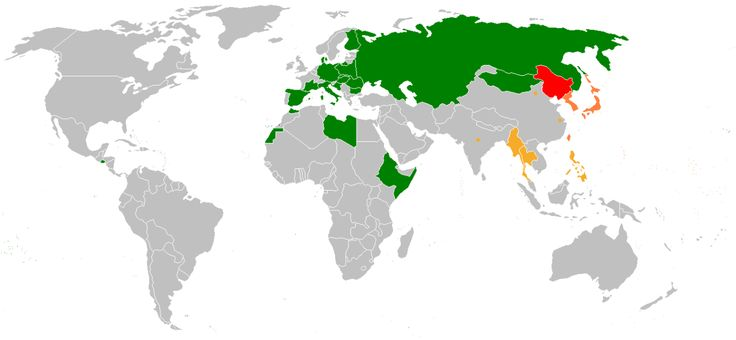 """Foreign recognition of """"Manchukuo"""" (the Japanese puppet state in Manchuria, 1932-45) as of 1943."""