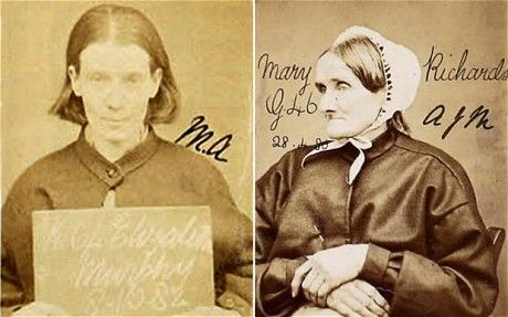Elizabeth Murphy (left) was sentenced to 5 years hard labour for stealing an umbrella and Mary Richards was jailed for 5 years for stealing 130 oysters.  Harsh justice in Victorian times!Mugshots