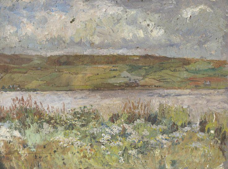 Arthur Netherwood - Patchwork Fields, 19th Century Oil