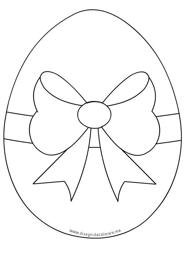 Uovo Di Pasqua Con Fiocco Disegni Da Colorare Drawing Easter