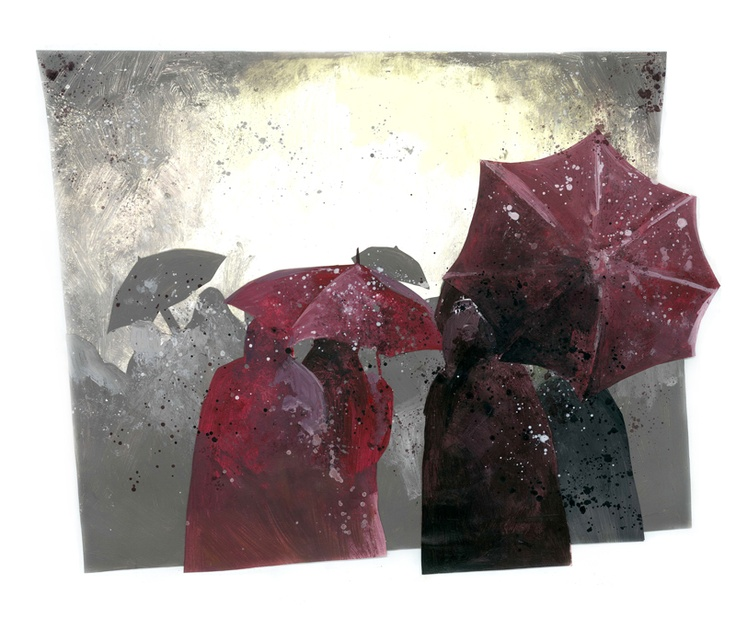 Untitled // illustration // colour // paint // cut and paste // realistic // graphic // people // umbrella // group // rain // grey // red // purple // white // yellow