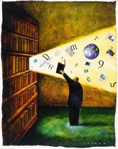 Illuminating...: Bookish Art, Artful Reading, Book Art, Reading Art, Read Books, Bookish Delights, Library, Illustration Art Books