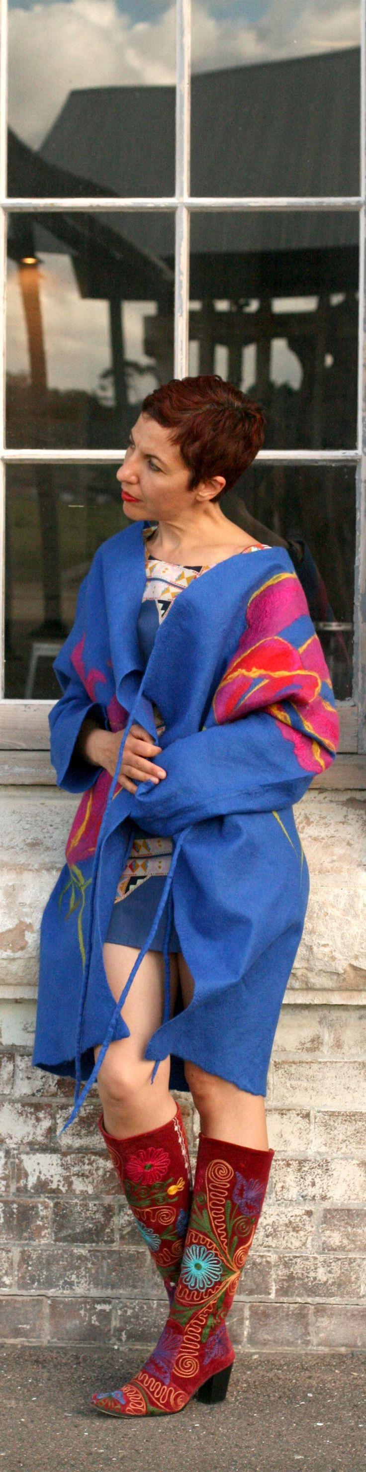 Buy fashion style felted wool blue jacket by Vera Alexanderova #fashion #womensfashion #eco #ecofriendly #ecofashion #felted #blue #coat #jacket