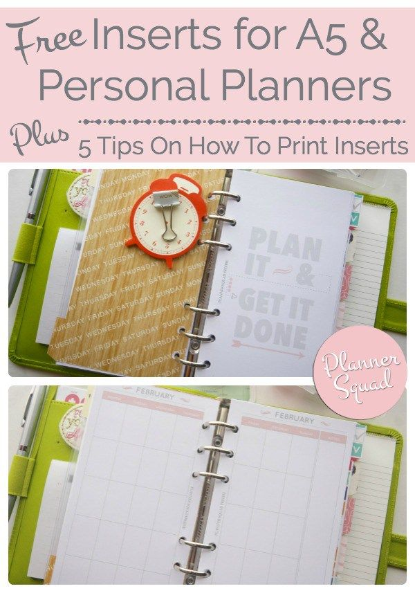 FREE Inserts for A5 & Personal Planners + Tips On How To Print - Planner Squad