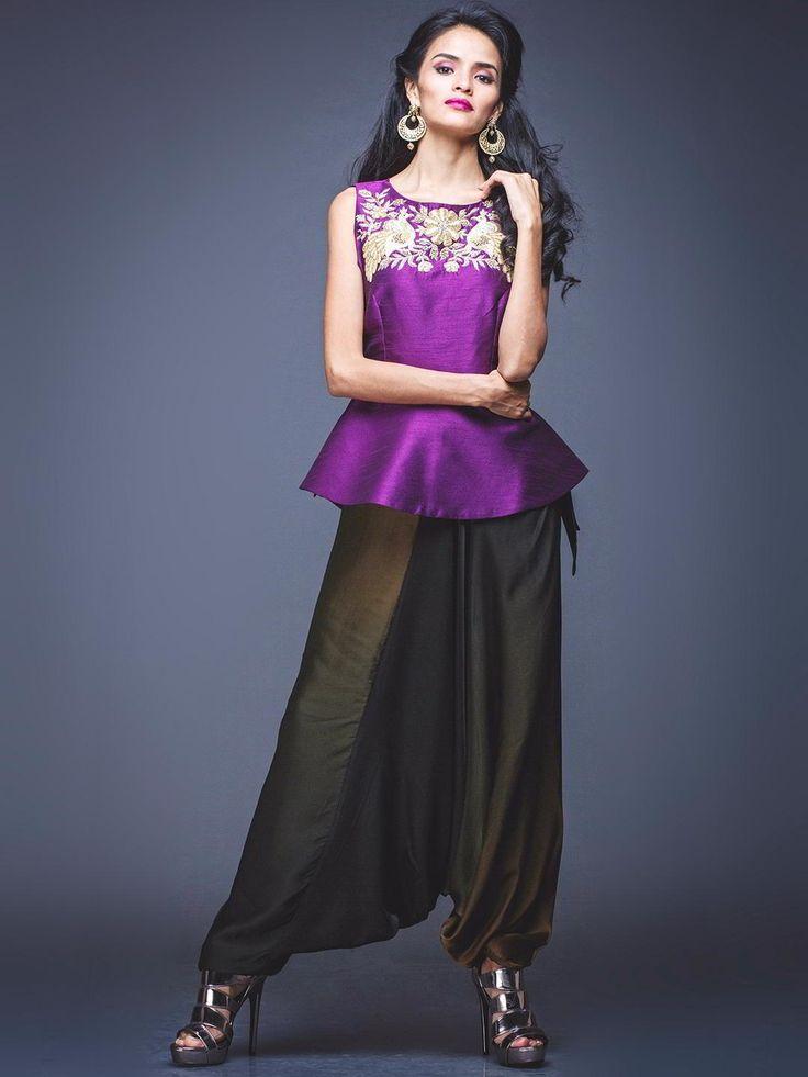 Фиолетовая блузка   болотные индийские брюки   накидка