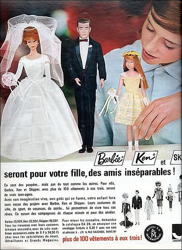 the 1960s -ad for Barbie, Ken and Skipper dolls