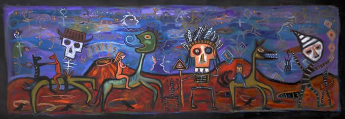 New Art by Kelly Moore. Dead Cowboy and the Naked Assasin Ride Again  about 30 x 85 oily on loose canvas