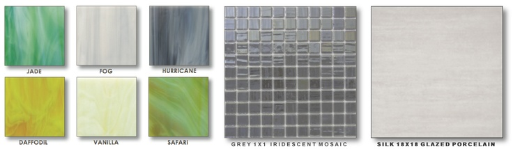 This collage shows the collection of art glass hues used to create a custom tile wall from Edgewater Studios.     The grey iridescent mosaic is available from Olympia Tile, and will be used to create the tile surround for the shower.     The 18X18 floor tile is from Ames Tiles' SILK line, and makes a gentle transition to the flooring in the bathroom.