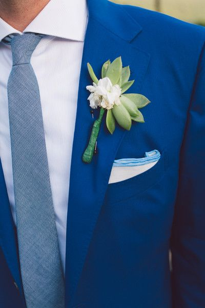 Bright blue suit + pocket square and succulent boutonniere {Erik Kruthoff Photography}