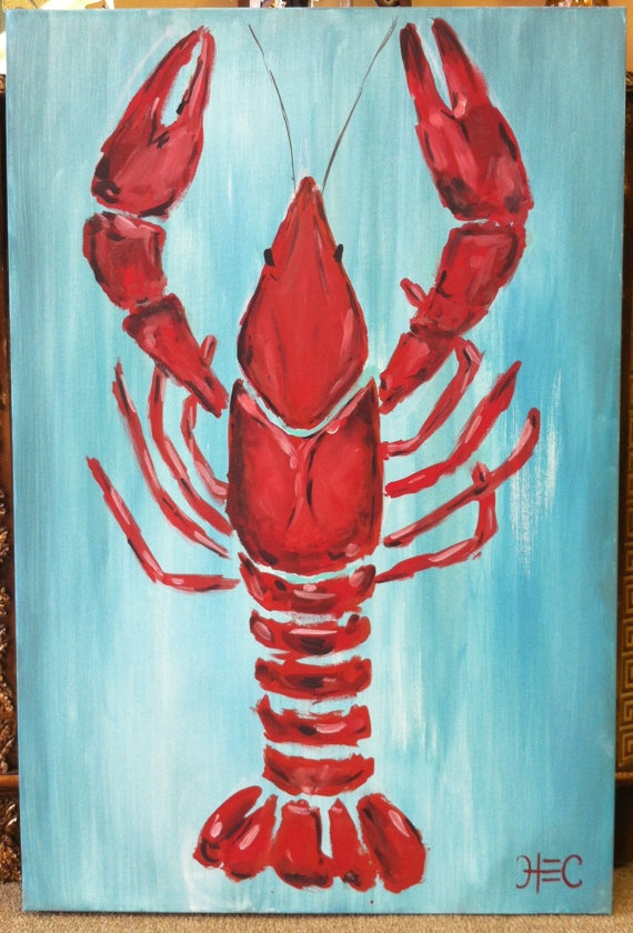 Louisiana Crawfish painting original by TealouAndSweetpea on Etsy, $220.00