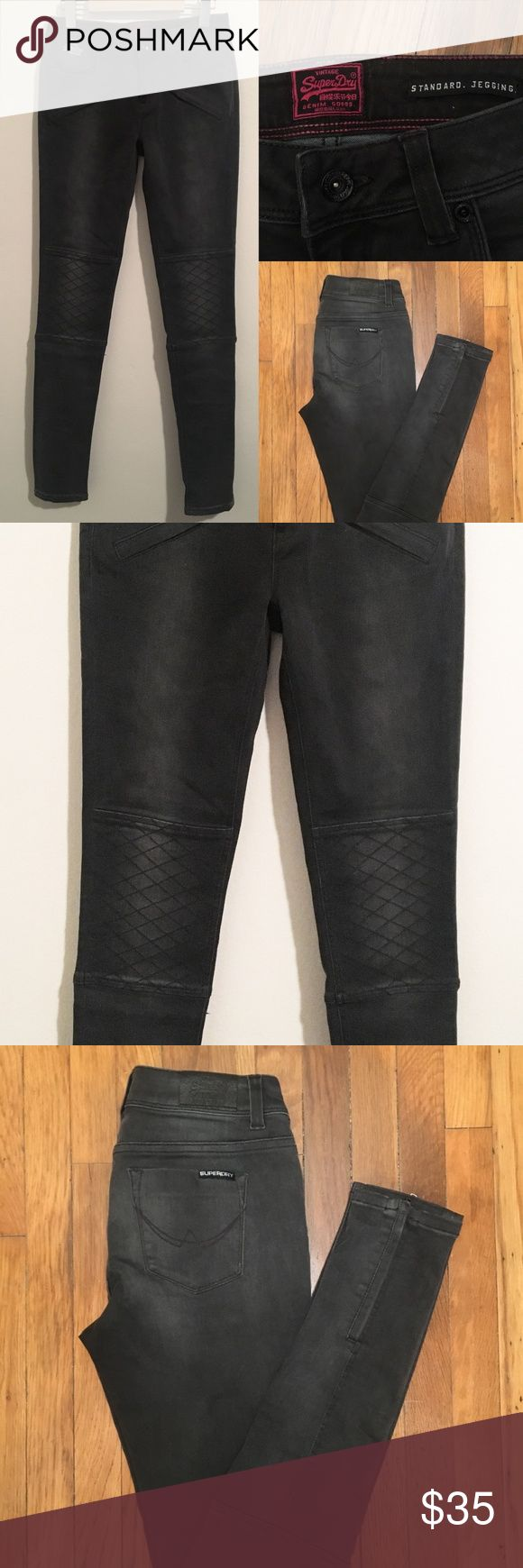SUPERDRY MOTO JEGGING DENIM JEANS NEW! Size 28 Never-worn Superdry moto jeggings  Size: 28 Color: Charcoal Details: Front angled zips, side-ankle zips Superdry Pants Leggings