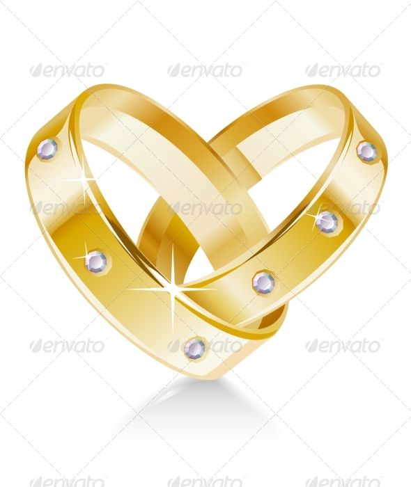 Two wedding rings shaped heart