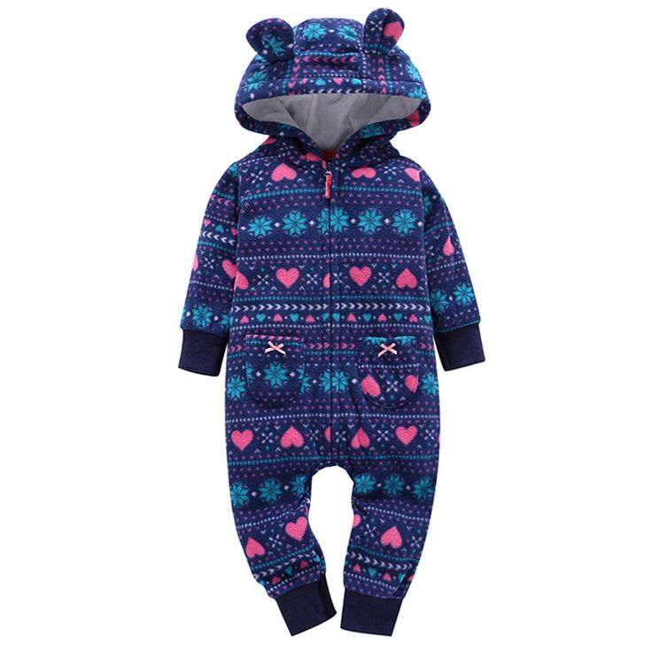 baby overalls boy girl winter Fall coat parkas suit break children newborn clothes layette downThicker Print Hooded Romper P5