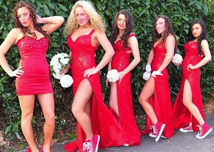 31 best ugly bridesmaid dress images on pinterest colors big fat gypsy bridesmaids miss mcfadyen chose a red theme for her maids with four out of the five girls wearing converse sneakers with th junglespirit Gallery