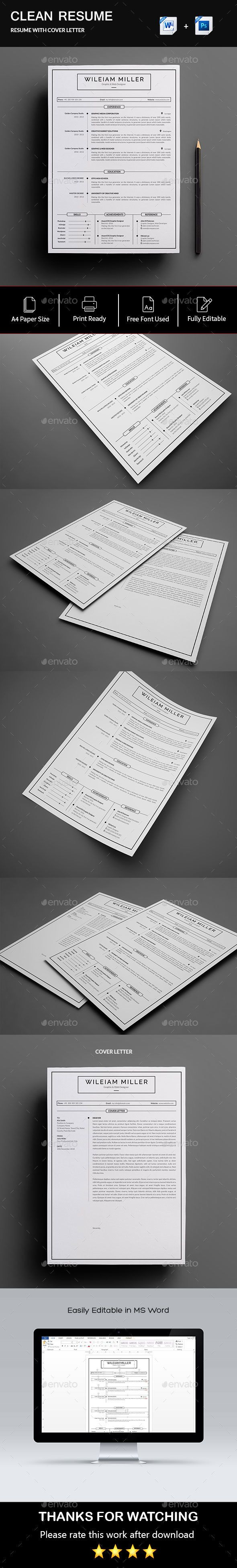 Resume The perfect way to make the best impression. Strong typographic structure and very easy to use and customize. – The resume have a very organized and named layers, really easy to customize.