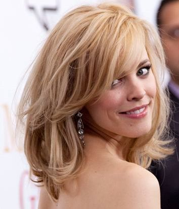 Rachel McAdams - Side swept bangs, and tousled, textured hair. want this