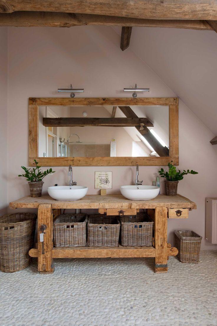 Holz Badezimmer Waschbecken Flusssteine, #badezimmer #flusssteine #waschbecken