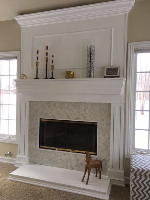 Fireplace Refacing Herringbone Tile Millwork Facelift In 2018